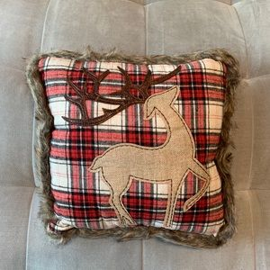 Pillow Throw Plaid Deer Patchwork Faux Fur Red